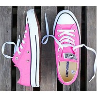 Converse New fashion canvas solid color couple shoes Pink