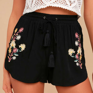 Yarrow Black Embroidered Shorts