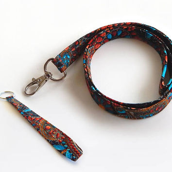 Jewel Lanyard Set / Jewelry / Turquoise Keychain / Indian Jewelry / Bohemian / Key Lanyard / ID Badge Holder / Cute Lanyards / Boho Lanyard