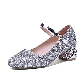Mary Janes Sparkly Heel Buckle Wedding Shoes Mid Heeled Shoes Woman