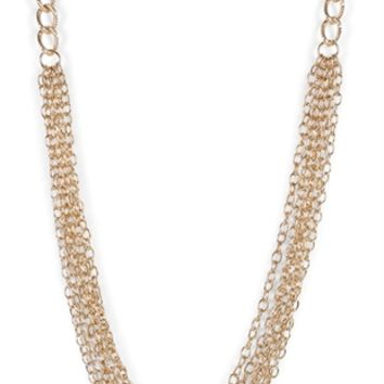 Long Necklace with Chain Layered Bottom