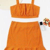 ZAN.STYLE Polka Dot Halter Strap Cropped Top With Ruffles Mermaid Skirt Set 2pcs Fashion Women 'S Set Zip Up Button Mini Skirt