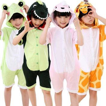 children girl boy cartoon 3D animal Onesuit costume summer day short sleeve pajamas tracksuit cotton totoro frog stitch pikachu