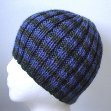 Blue and Green Striped Beanie, Ribbed Hat, Men, Teens & Boys, Hand Knit Wool Acrylic, Toque