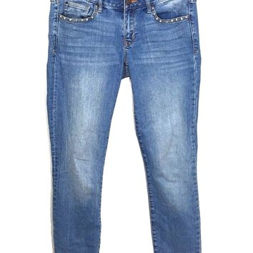 Gap 1969 Always Skinny Jeans Pan Pacific Wash Studded Womens 27 Actual 30 x 28 - Preowned