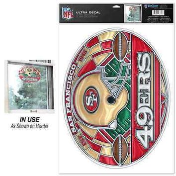 "SAN FRANCISCO 49ERS EST. 1946 ULTRA DECAL STAINED GLASS 11""X17"" BRAND NEW"