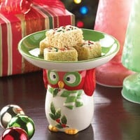 Holiday Hoot Owl Design Ceramic Candy Dish