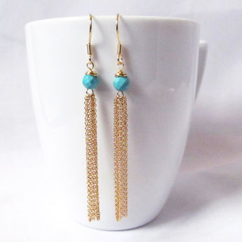 long turquoise tassel earrings festival jewelry  gold boho chic gemstone dangle bohemian jewelry