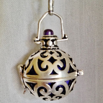 Harmony Ball Sterling Silver Angel Chimes Locket,Beautiful Heirloom Quality Jewelry with A Personalized Musical Memory  Amethyst  Top