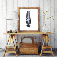 Feather Printable Wall Art Feather Wall Prints Feather Art Mustard Art Inspirational Print Home Decor INSTANT DOWNLOAD PRINT