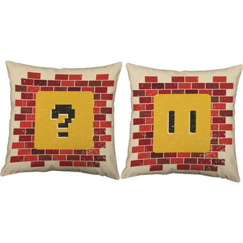 Video Game Coin Block Throw Pillows