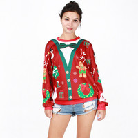 Print Pullover Sweatshirts Winter Ugly Christmas Sweater Pattern Hoodies [9440720836]