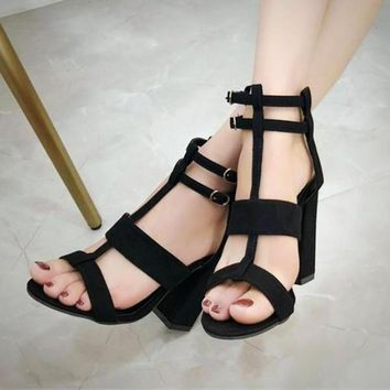 High Heel Shoes Ankle Buckle Strap Chunky Heel Sandals Open Toe Summer Pumps