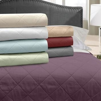 Veratex Home Indoor Bedroom Supreme Stn 500Tc Blanket Coverlet King Mulberry