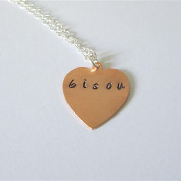 BISOU Copper Heart Necklace, Hand Stamped Bisou Kiss Pendant Necklace