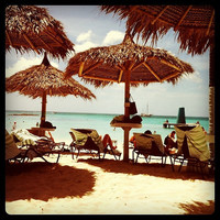 Beach Photography  with a Vintage Vibe. Palapas in Aruba by beachbumchix.