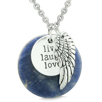 Guardian Angel Wing Live Laugh Love Inspirational Medallion Magic Amulet Sodalite 18 Inch Necklace