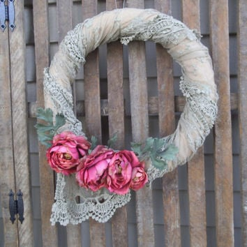 Shabby Wreath - Lace Wreath - Door Wreath - Victorian Wreath -  Cottage Wreath - Shabby Decor - Door Wreath