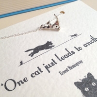 Silver Cat Charm Necklace with Ernest Hemingway Quote