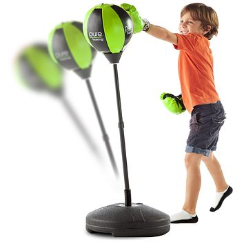 Pure Boxing Punch and Play Punching Bag for Kids - Lime