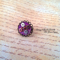 Steampunk, Steampunk Ring, Steampunk Jewelry, Vintage Gears And Cogs, Neo Victorian Jewelry, Purple Glitter Glass Ring, Vintage Style