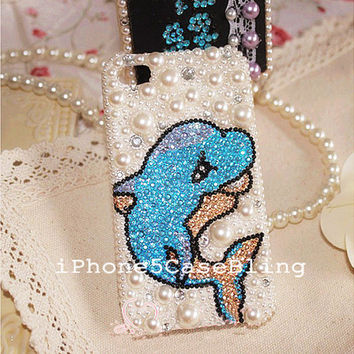iPhone 4 Case, iPhone 4s Case, iPhone 5 Case, Cute iPhone 5 case, Bling iphone 4 case,  Cute iphone 4 case, iphone 4 pearl case dolphin