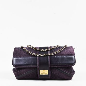 "Chanel ""Union Jack"" Purple Suede Leather Quilted Paneled Mademoiselle Flap Bag"