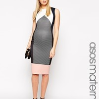 ASOS Maternity Bodycon Dress In Stripe And Colour Block