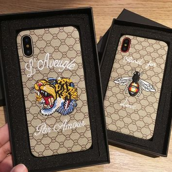 Gucci  phone shell  for iphone 6/6s,iphone 6p/iphone 6sp,iphone 7/8,iphone 7p/8p iphonex Embroidered tiger head