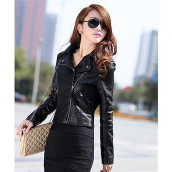 2017 Chic Women Jacket Slim Biker Motorcycle PU Leather Jacket Coat Zipper Punk Casual Outwear Female Cool Coat