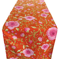 """6 ft. Table Runner - 12"""" x 72"""" - Red Pink Flowers  - Everyday, Wedding - Reversible Table Topper"""