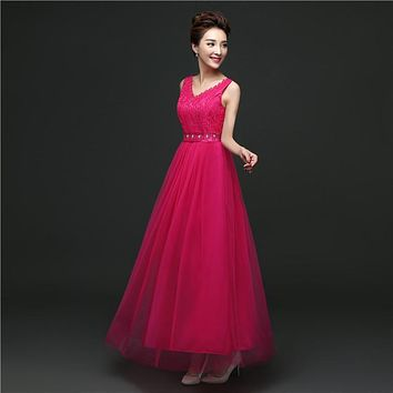 ZX528CMH#Hard yarn host cheap fashion dress 2016 bride toast clothing fashion bridesmaid dresses long party dress Pink Rose