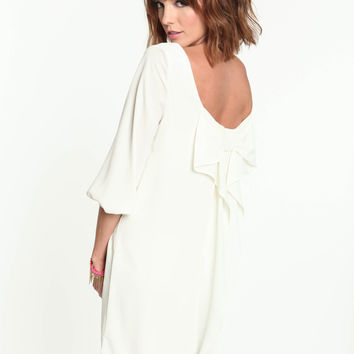 White Bow Chiffon Dress