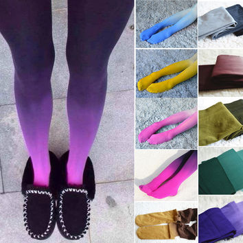 Dip Dyed Gradient Opaque Tights- 120D Women's Girls' New Fashion Candy Color Colorful Ombre Hand Dye Thick Stockings Pantyhose
