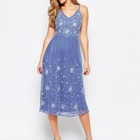 Frock and Frill Embellished Midi Dress With Strap Detail at asos.com