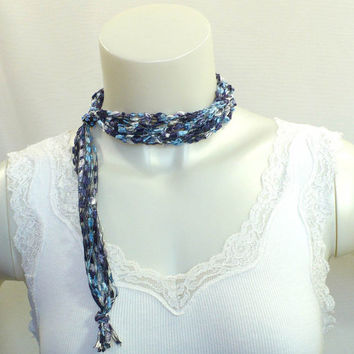 Dusky Blue Ladder Yarn Necklace - Crocheted Ribbon Necklace, Handmade Fiber Necklaces, Ready to Ship