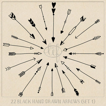 Vector Arrow Clip Art Set 1 Black including Photoshop Brushes. A designer pack filled with hand drawn arrows in EPS, Ai and Brush format