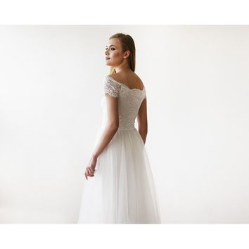 Ivory Off-The-Shoulder Short Sleeves Lace Maxi Tulle Gown 1139