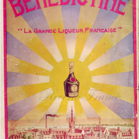 Original Vintage French Ad  Benedictine liquor Fecamp 1913 Very Rare