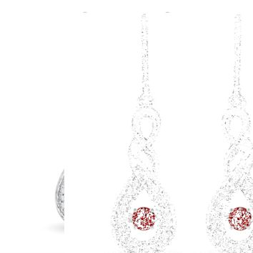 Dancing Solitaire Ruby and Diamond Accent Infinity Loop Earrings