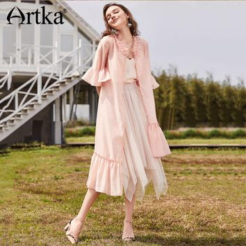 Artka 2018 Summer New Women Solid Pink Ruffled Petal Sleeves Romantic Holiday Style Irregular Hem Long Shirt SA11580C