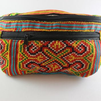 summer waist bag embroidery hmong ethnic bohemian style hip bag outdoor sport wallet bag, bohemian168