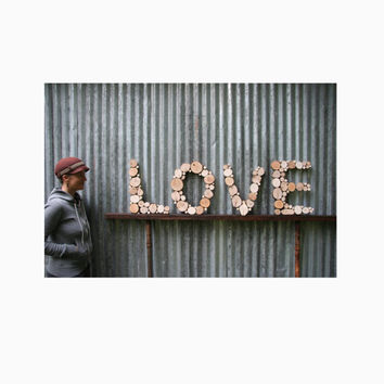 Love Rustic letters wall letters Tree slice wall sculpture wall hanging modern art recycled wood abstract art garden art office art