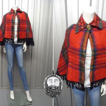 Vintage 60s Mod Red Tartan Wool Cape Mohair Wrap Fringing Tassel Fringe Plaid Cape Collared Poncho Shawl Scarf Checked Cape Scottish Capelet