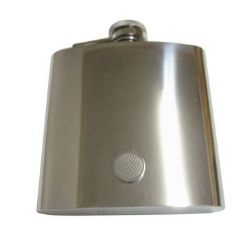 Silver Toned Etched Round Golf Ball Pendant 6 Oz. Stainless Steel Flask