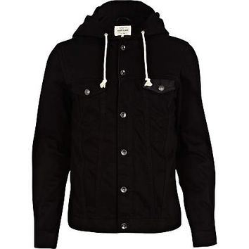 Black jersey hood denim jacket - jackets - coats / jackets - men