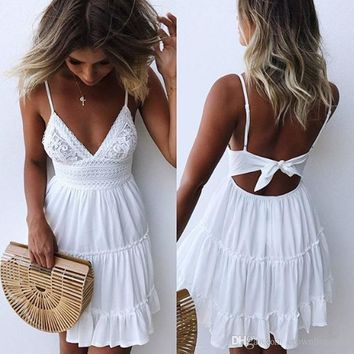Women Sexy backless white Dress Cocktail Party Slim Badycon Short Beach Party Mini Dresses Female spaghetti strap White Lace Dress