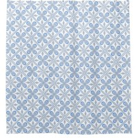 Tiled Blue Gray And White Shower Curtain