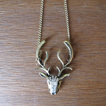 Deer Head Antler Necklace