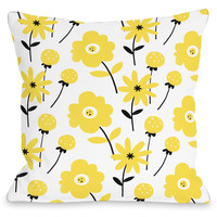 """""""Floral Yellow"""" Outdoor Throw Pillow by Julissa Mora, 16""""x16"""""""